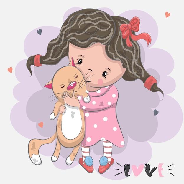 Mignonne Petite Fille Avec Caricature De Dessin Animé Chat