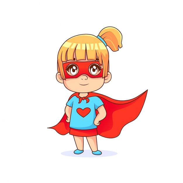 Mignonne petite fille en pose de super h ros cape rouge avec un fond blanc t l charger des - Image super heros fille ...