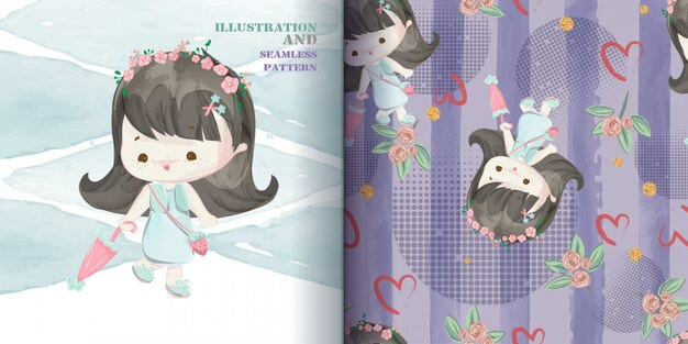 Mignonne Petite Fille Main Dessinée Dans Le Modèle Sans Couture De Style Aquarelle Douce. Vecteur Premium