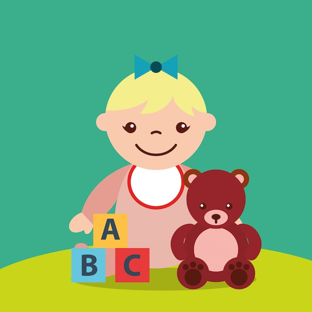Mignonne petite fille et ours en peluche bloque jouets alphabet Vecteur Premium