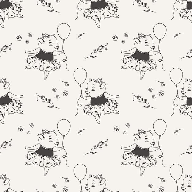 Mignonne petite fille piggy ballerine caricature transparente motif dessinés à la main Vecteur Premium