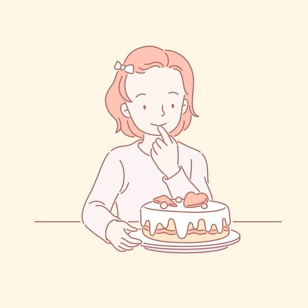 Mignonne Petite Fille Regardant Délicieux Gâteau D'anniversaire En Dessin Au Trait Vecteur Premium