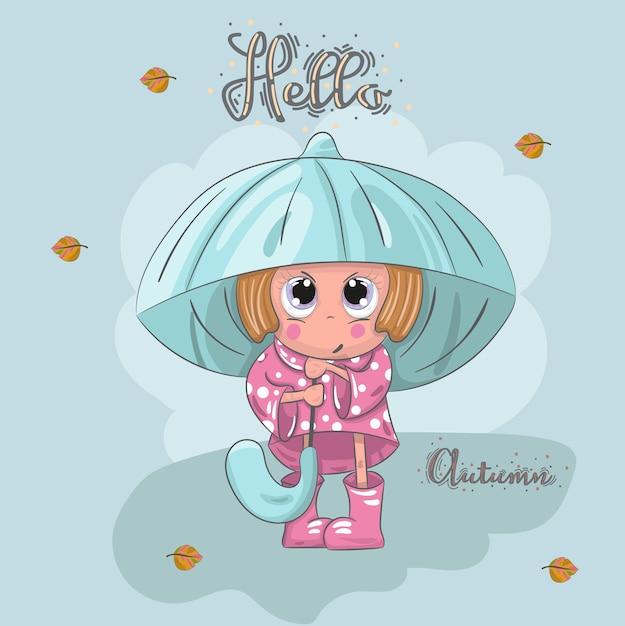 Mignonne Petite Fille Sous Le Dessin Animé Cartoon Parapluie