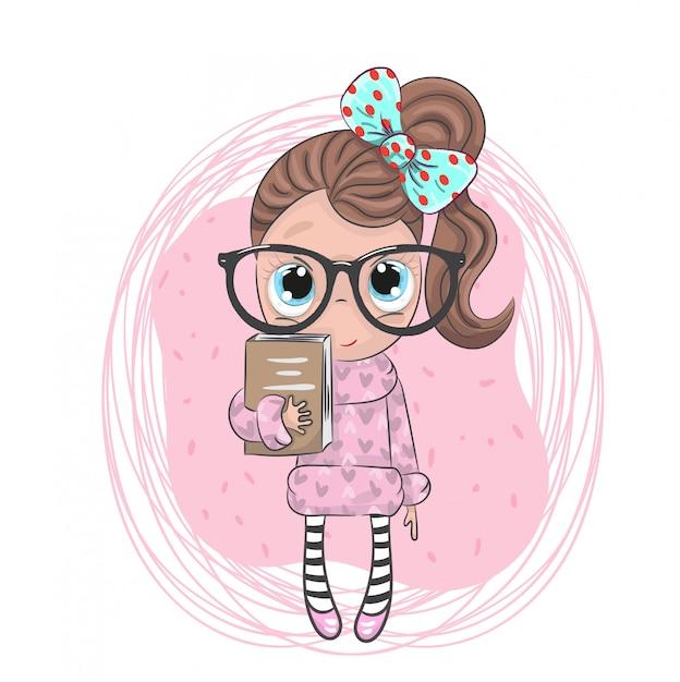 Mignonne Petite Fille Tenant Le Livre De Dessin Animé