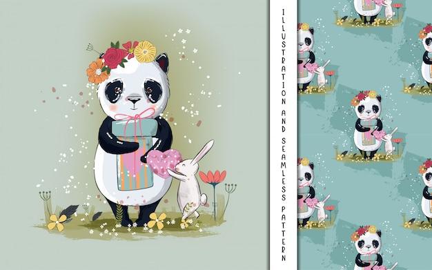 Mignonne Petite Illustration De Panda Pour Les Enfants Vecteur Premium
