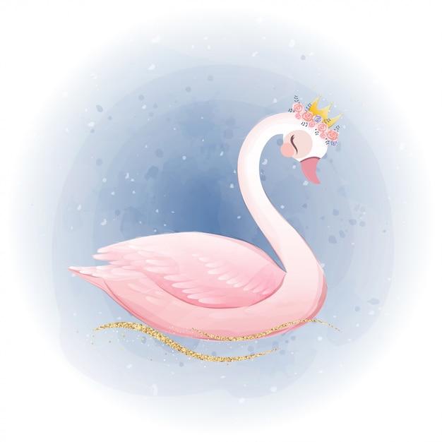 Mignonne Petite Princesse Cygne Avec Une Couronne De Paillettes D'or. Vecteur Premium