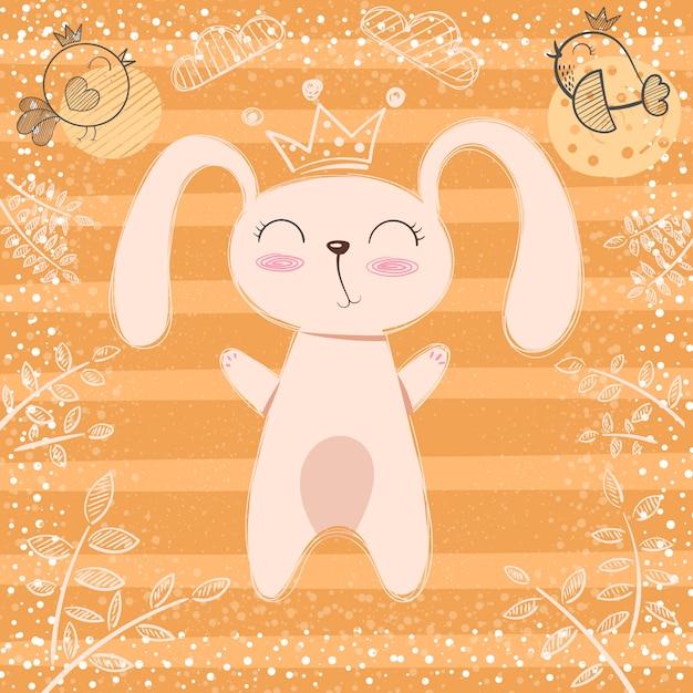 Mignonne petite princesse - dessin animé de lapin Vecteur Premium