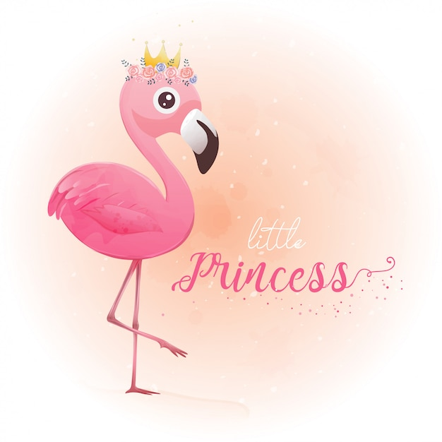 Mignonne petite princesse flamant rose Vecteur Premium