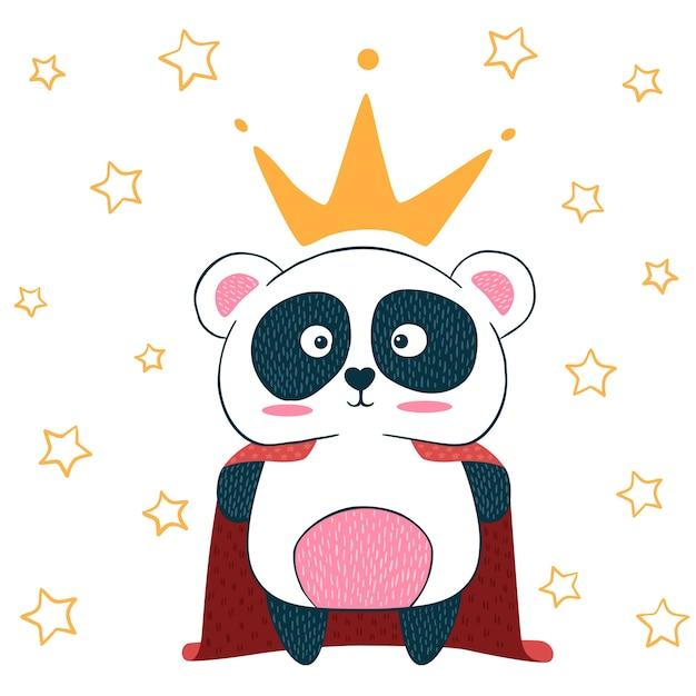 Mignonne petite princesse. personnages de panda. idée pour t-shirt imprimé. Vecteur Premium