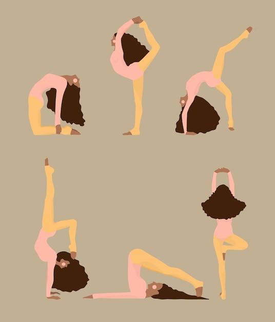 Mignonnes femmes faisant des poses de yoga Vecteur Premium