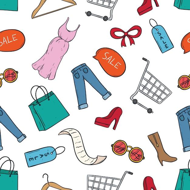 Mignonnes icônes de shopping ou de vente avec art de griffonnage coloré Vecteur Premium