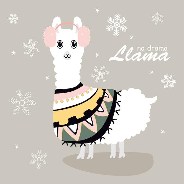 Mignons et beaux lamas avec de la neige Vecteur Premium