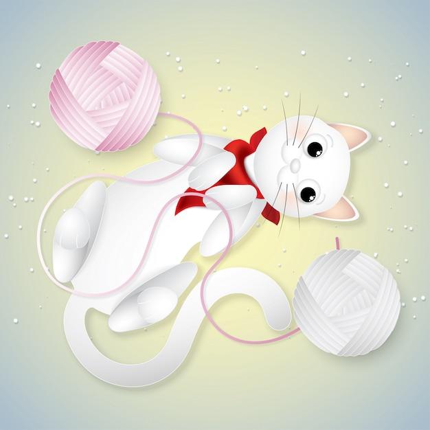 Mignons chats blancs drôles jouant à la pelote de laine. Vecteur Premium
