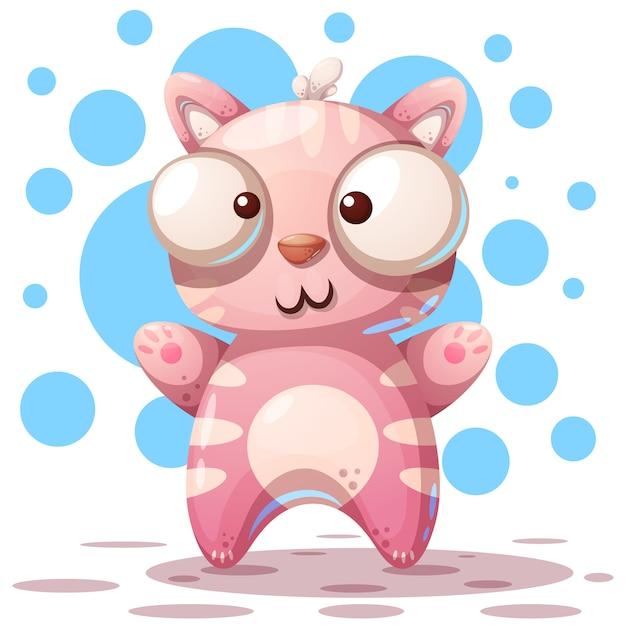 Mignons, drôles - personnages de chats dessinés Vecteur Premium
