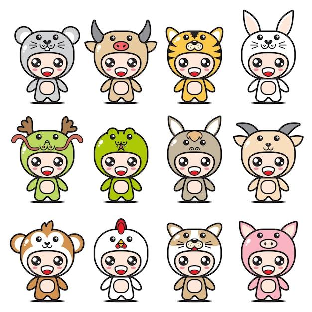 Mignons Ensembles De Mascottes Du Zodiaque Chinois Vecteur Premium