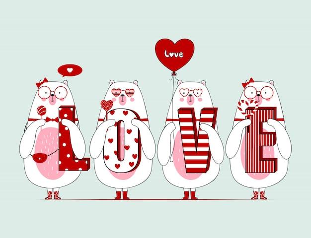 Mignons ours de valentine avec Vecteur Premium