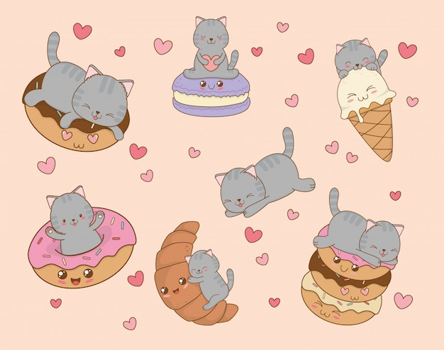 Mignons petits chats avec des émoticônes caractères kawaii Vecteur Premium