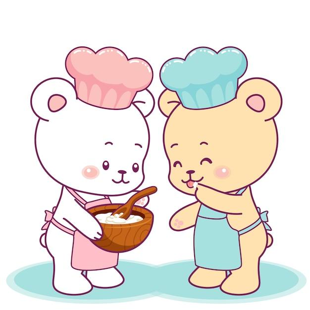Mignons petits ours qui cuisinent ensemble Vecteur Premium