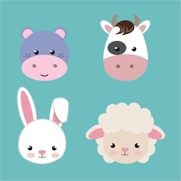 Mignons set têtes d'animaux isolé design d'icône Vecteur Premium