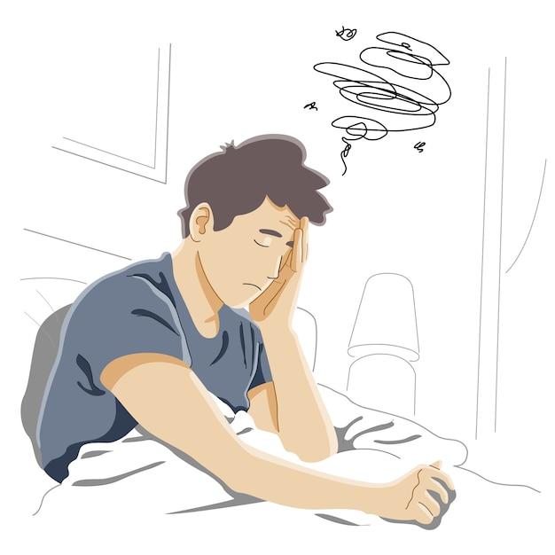 Migraine Matinale, Difficile à Se Réveiller, Fatigue Chronique Et Tension Nerveuse, Concept De Symptômes De Stress Ou De Grippe Vecteur Premium