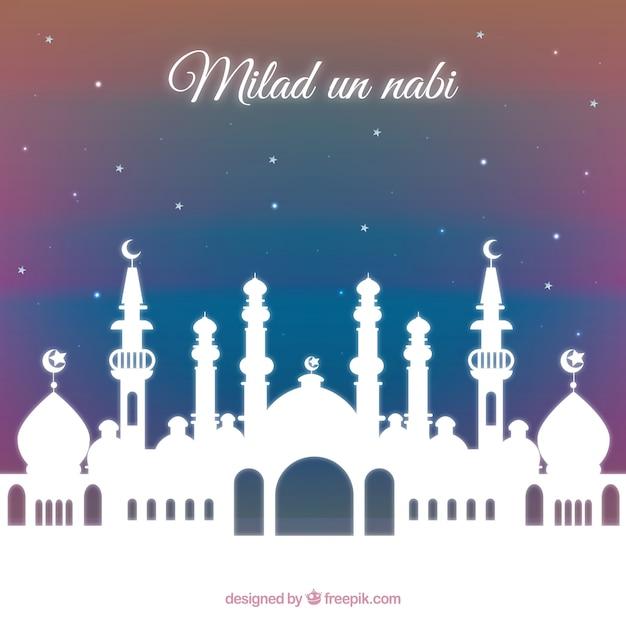 Milad un mosquée nabi contexte Vecteur gratuit