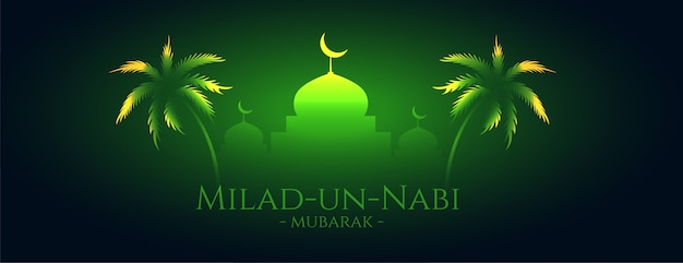 Milad Un Nabi Mubarak Design De Bannière Vert Brillant Vecteur gratuit