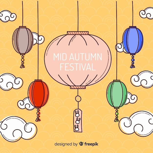 Milieu festival automne avec lanterne colorée Vecteur gratuit