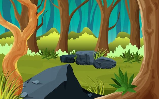 Milieu D'une Forêt Nature Illustration Vecteur Premium