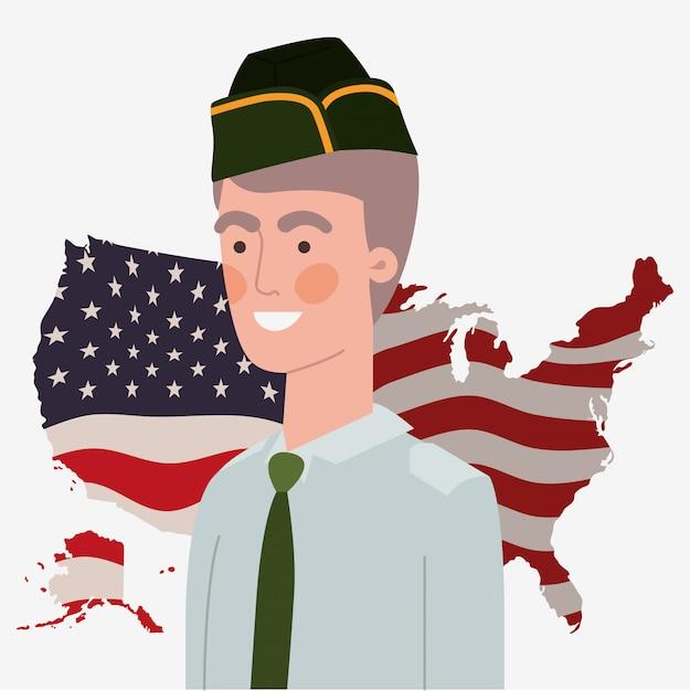 Militaire, usa, carte, et, drapeau Vecteur Premium