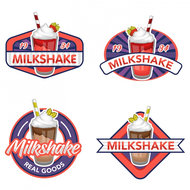 Milkshake logo vector stock ensemble Vecteur Premium