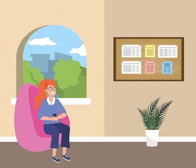Millennial student assis dans la salle d'attente Vecteur Premium