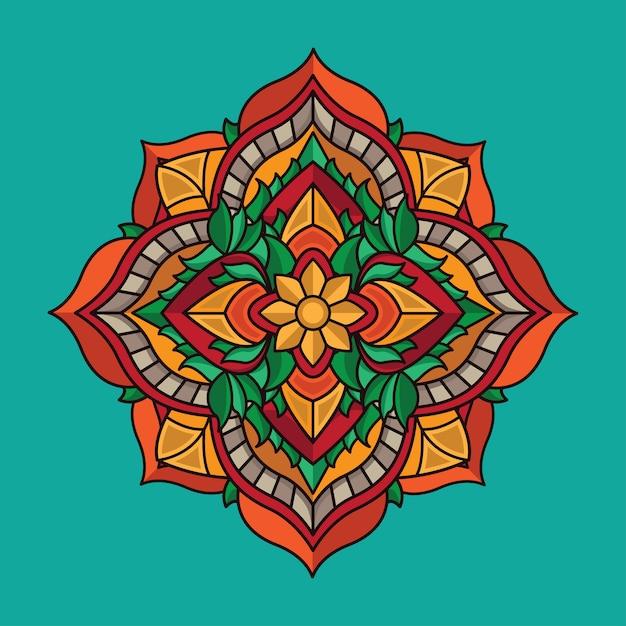Millésime design mandala de fleurs Vecteur Premium
