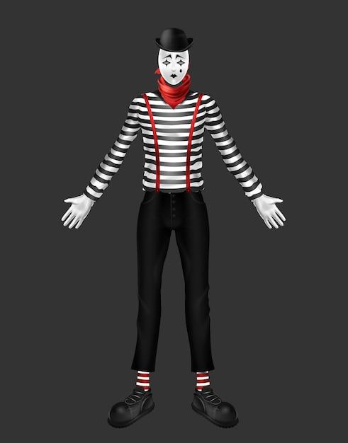 Mime, Acteur De Théâtre, Costume D'artiste Exécutant Le Mouvement Du Corps Avec Col Roulé à Rayures Vecteur gratuit