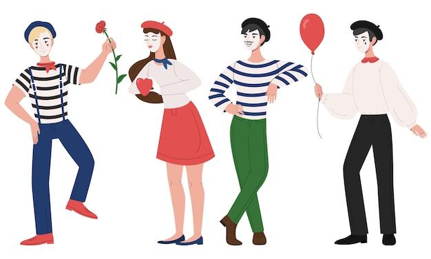 Mimes homme et femme illustration de pantomime Vecteur gratuit