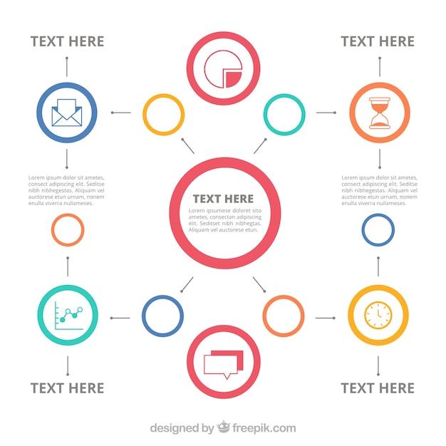 Mindmap avec des icônes et des cercles Vecteur gratuit