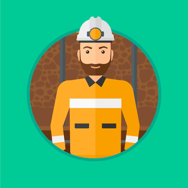 Mineur confiant dans le casque. Vecteur Premium