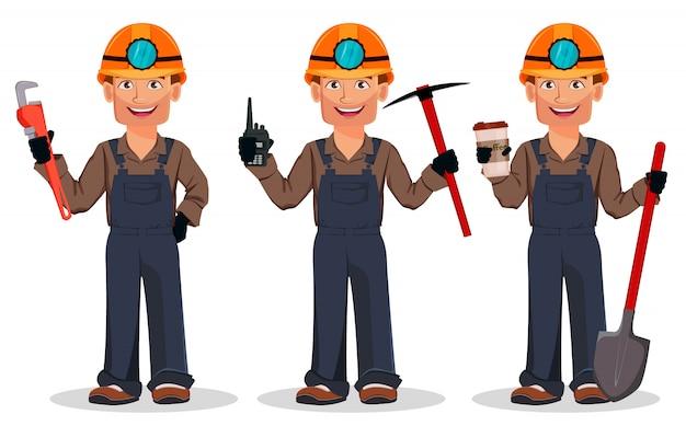 Mineur, ouvrier minier Vecteur Premium