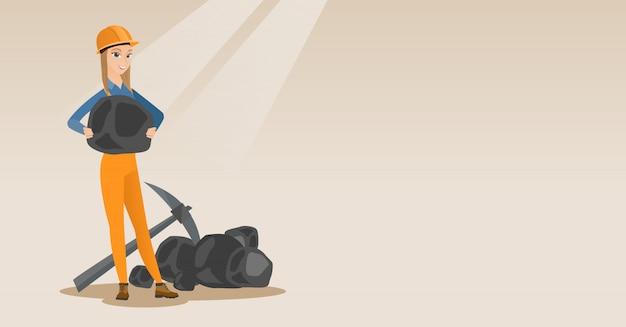 Mineur tenant du charbon dans les mains Vecteur Premium