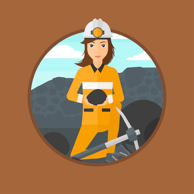 Mineur tenant du charbon dans les mains. Vecteur Premium