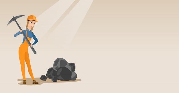 Mineur travaillant avec pioche Vecteur Premium