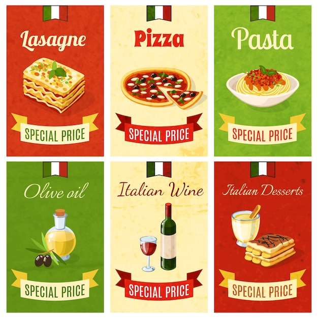 Mini-affiche de nourriture italienne Vecteur gratuit