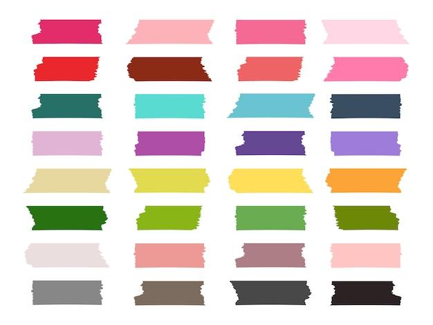 Mini Bandes De Ruban Washi Collection Colorée Vecteur Premium