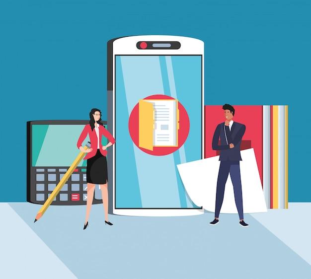Mini couple d'affaires avec un smartphone sur le lieu de travail Vecteur Premium