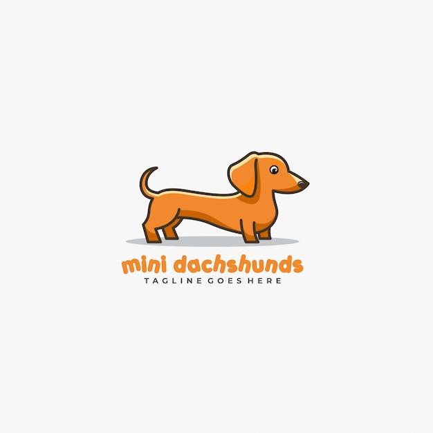 Mini Teckel Mignon Pose Mascotte Illustration Vectorielle Logo. Vecteur Premium