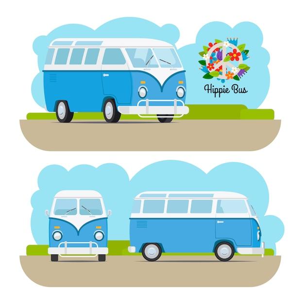 Mini van vintage bleu hippie Vecteur Premium