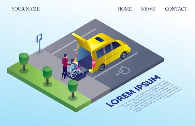 Minibus pour personnes handicapées sur parking Vecteur Premium