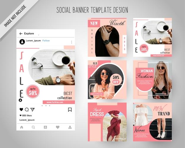 Minimal fashion bannières de médias sociaux pour le marketing numérique Vecteur Premium
