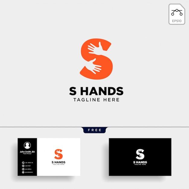 Minimal s lettre, modèle de logo main initiale Vecteur Premium
