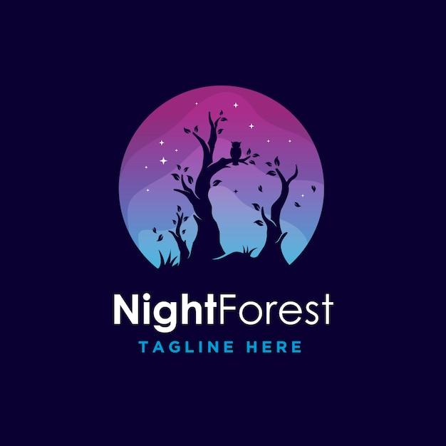 Minimalisme Moderne Colorfull Night Forest Logo Vecteur Premium