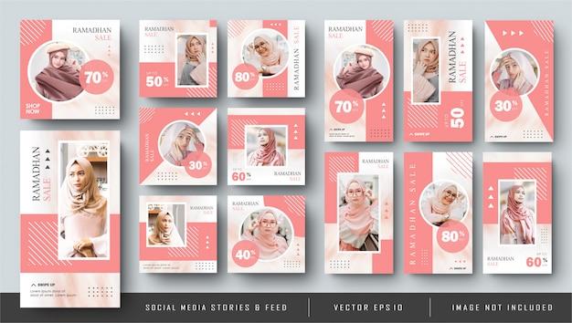 Minimalist Pink Social Media Instagram Feed Post And Stories Ramadhan Fashion Sale Banner Vecteur Premium